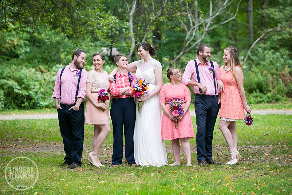 Rustic-Vermont-Camp-Wedding-Bridesmaids-Pink-Peach