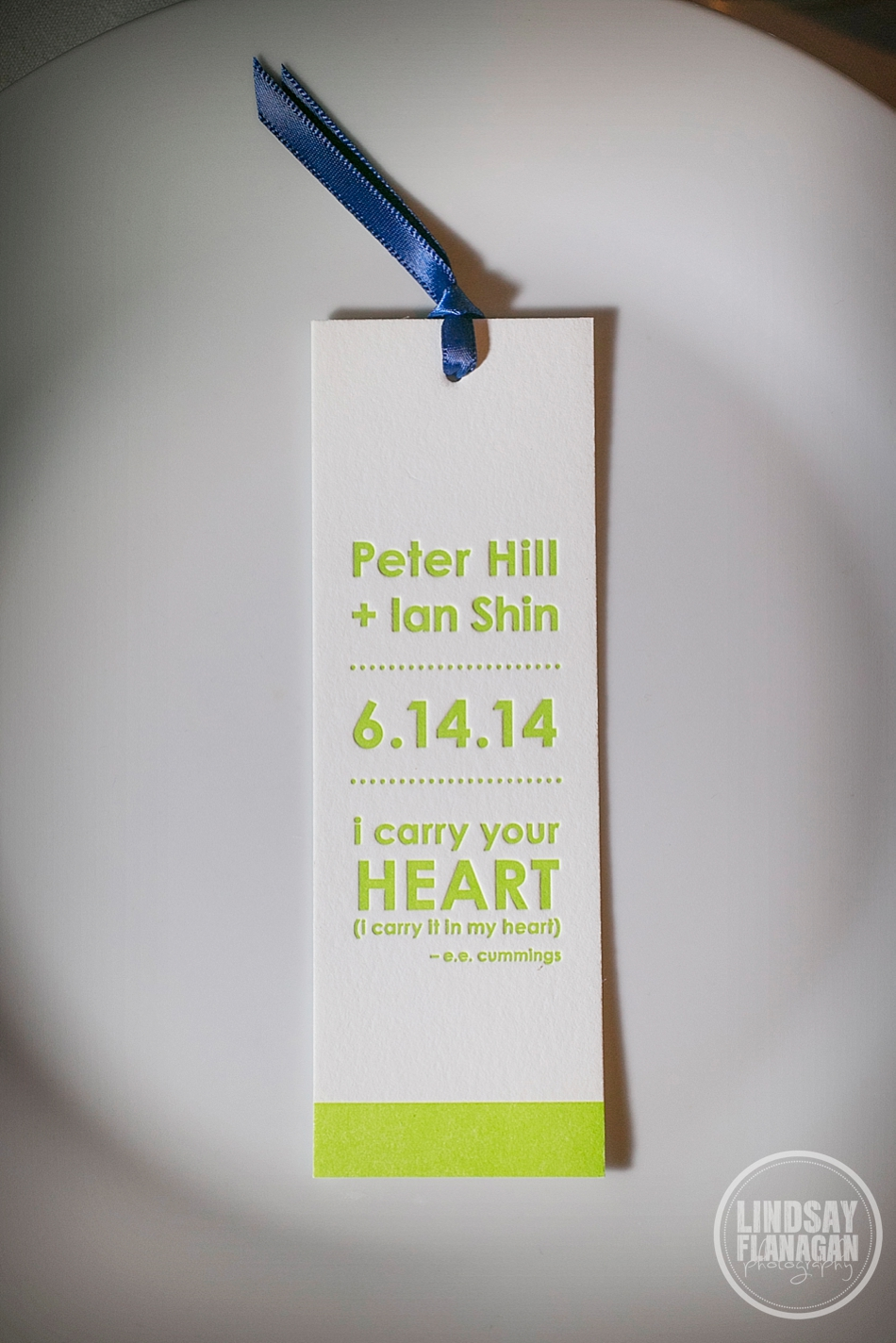 Ian and Peter's  Cambridge Multicultural Arts Center Wedding  | Bookmark Favors by  Ink Print Letterpress