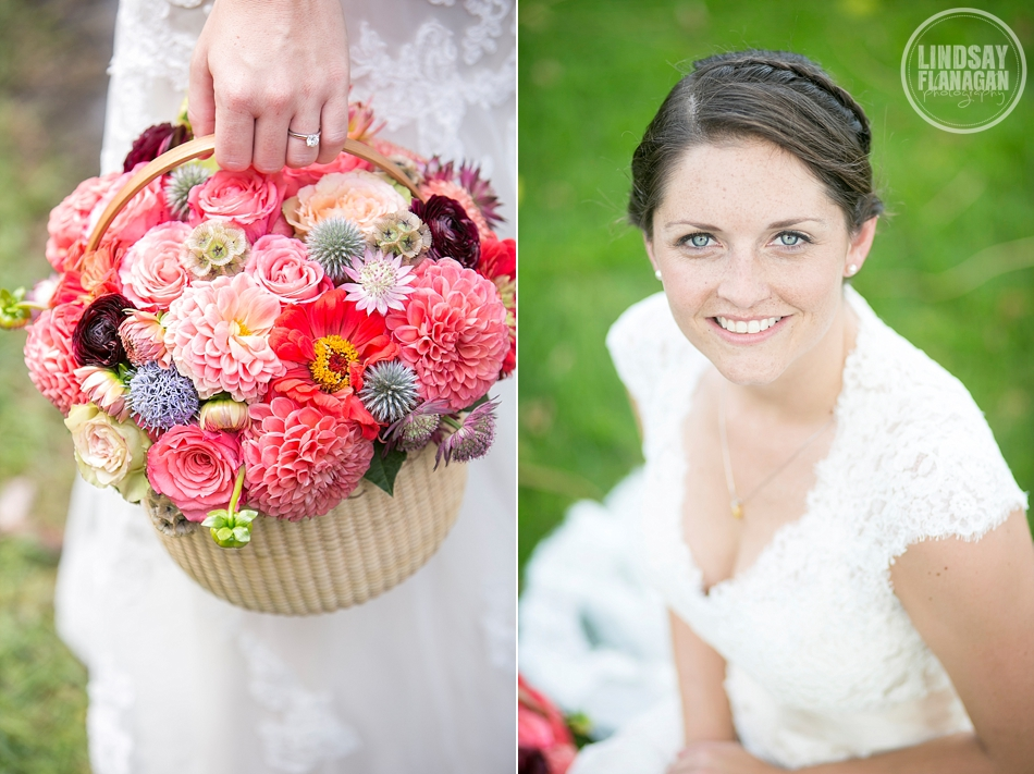 Rye New Hampshire Wedding Bride Portrait Bouquet Basket Pink
