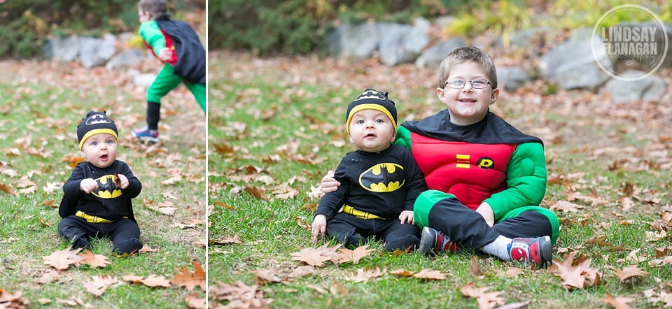 Henry and Oliver dressed up like Batman and Robin for Halloween