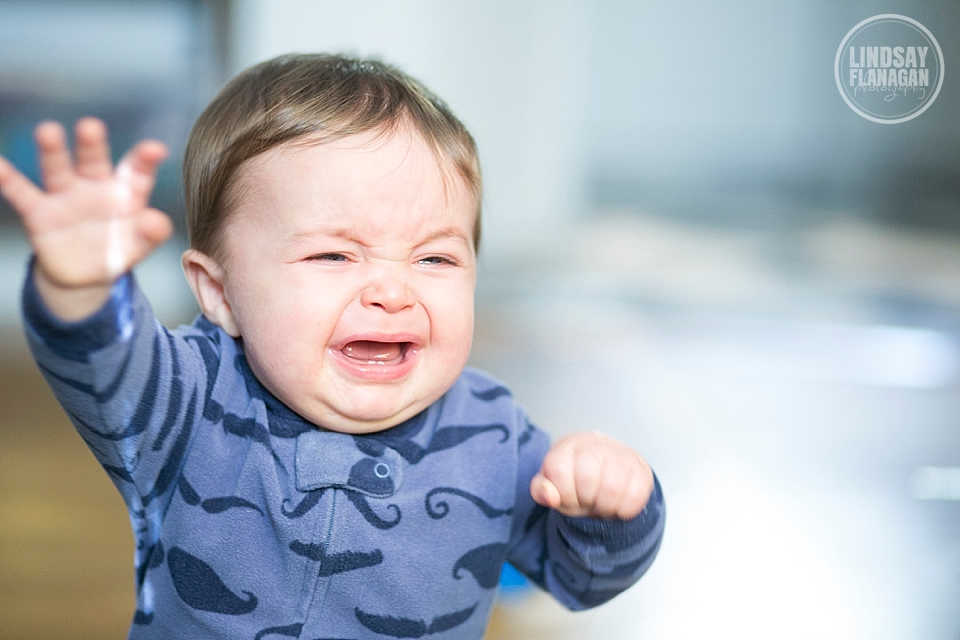 Baby Henry crying at 8 months of age