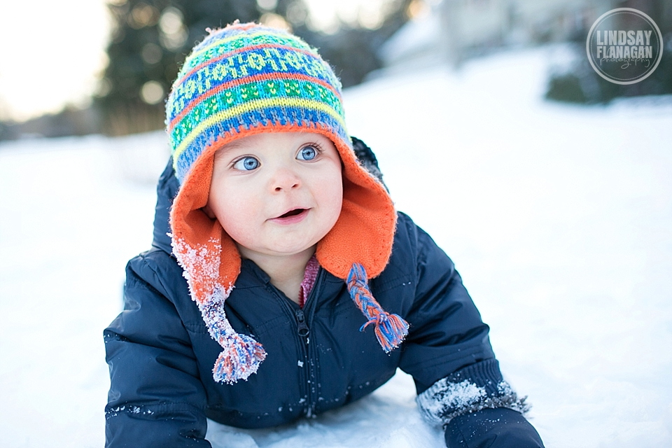 Baby Henry enjoying his first time out in the snow in New Hampshire