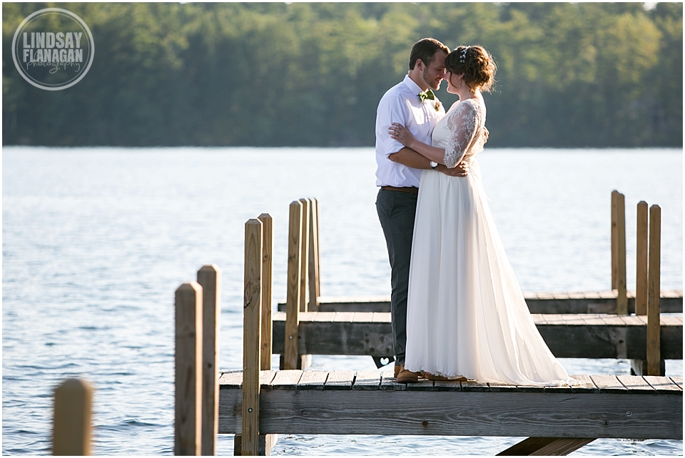 Church Island New Hampshire Wedding Portrait Dock