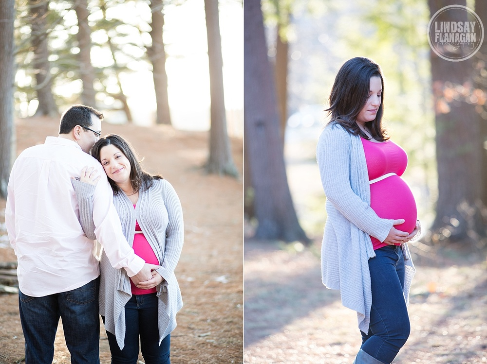 Maternity Photographer Chester New Hampshire Pregnancy Outdoors Winter