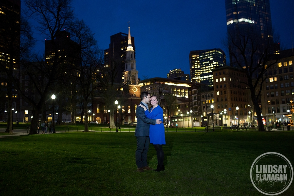 Boston Common City Night Engagement Photographer