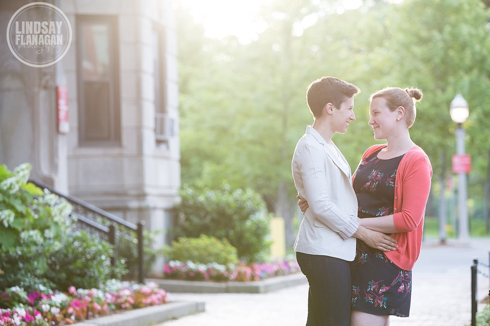 Same Sex Engagement Photographer Boston University Massachusetts