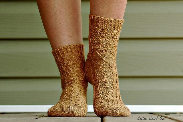 CelticCastOn's Pavilion Socks knitted in Wandering Cat Yarns Alley Cat BFL.