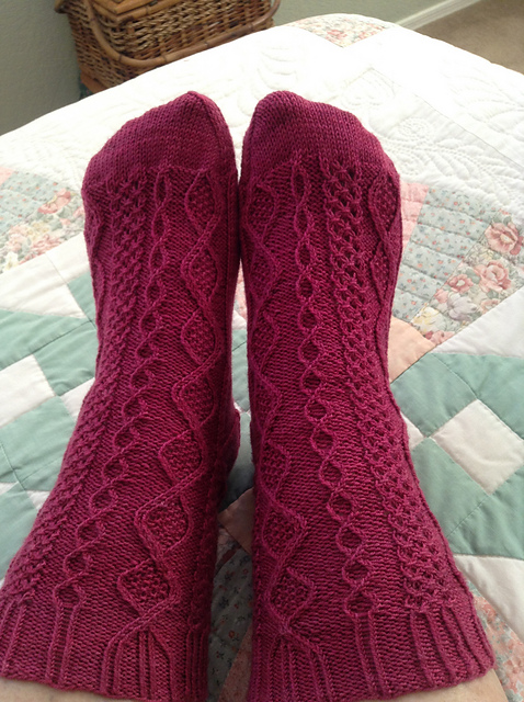 Gloriously raspberry Saxifrage socks from WriterGirl3.
