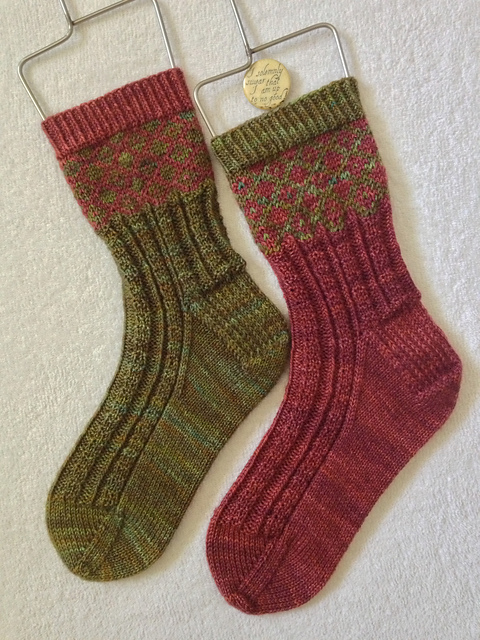 Mma knitted these Fred and George socks using String Theory Hand Dyed Yarn Bluestocking. They look ace!