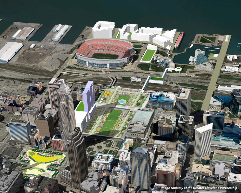 Photo: Composite image created by the Greater Cleveland Partnership; Public Square rendering by James Corner Field Operations and Mall rendering by Gustafson Guthrie Nichol