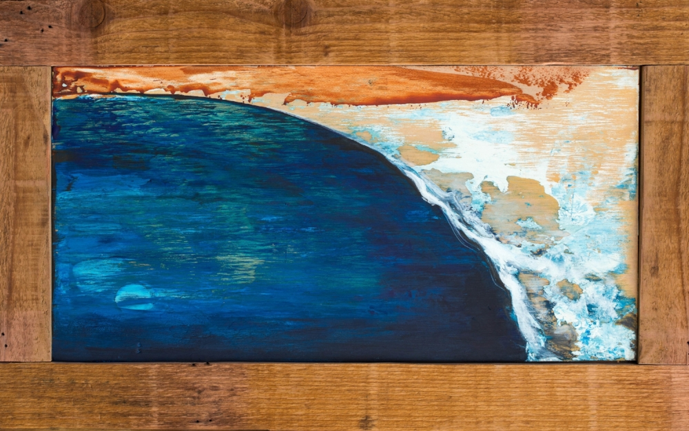 "Overhead Abstract. Acrylic on wood panel with reclaimed wood frame made by the artist. 17""x9"" (20""x12.5"" with frame)."