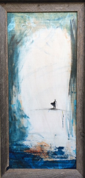"Lone Surfer - Acrylic - 12""x24"" with reclaimed barn wood frame."