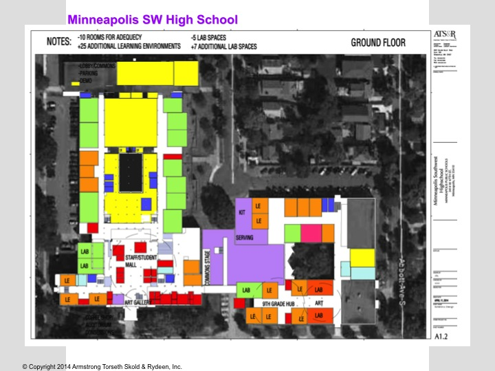 Plans--purple area is the atrium--which will replace The Link