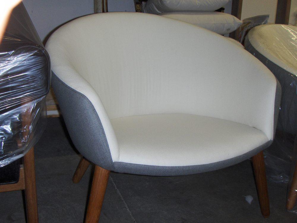Barrel Back Chair  Boiled wool & linen