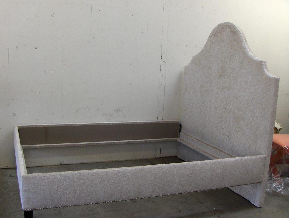 Bed frame w/ Headboard  Embossed velvet