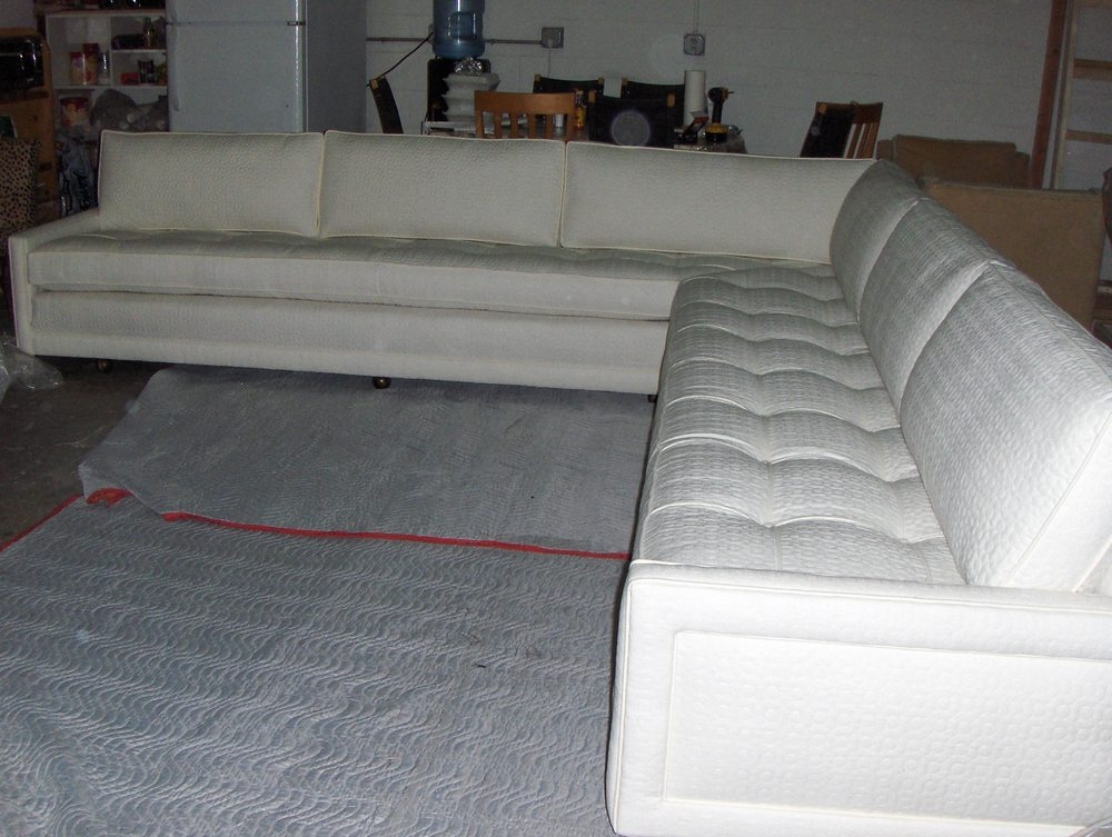 Sectional Sofa  Cotton w/ square tufting