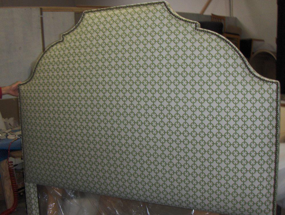 Headboard  Cotton print w/ nail head trim