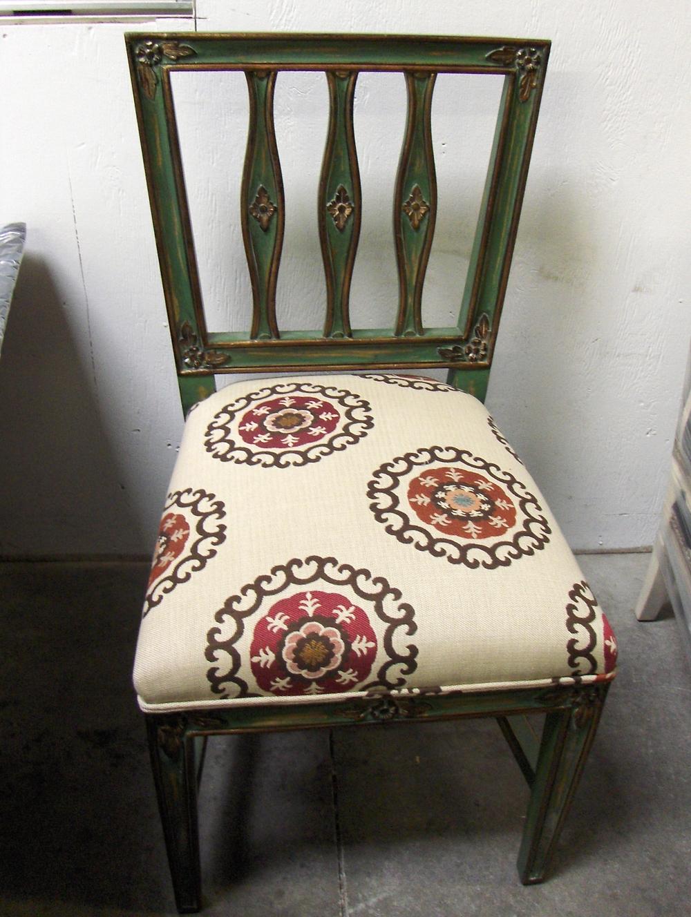Dinning Chair  Cotton Print w/self welt