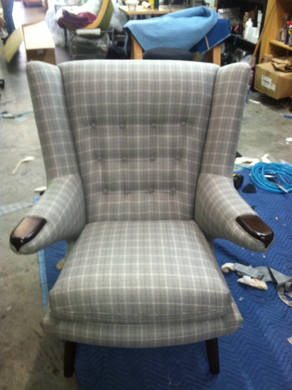 Side Chair  Wool w/ button tufting