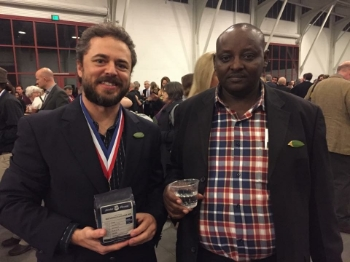 Randy Evans with Francis Maara Karijki, the Producer representative for the winning Kenya Gatundu Karinga