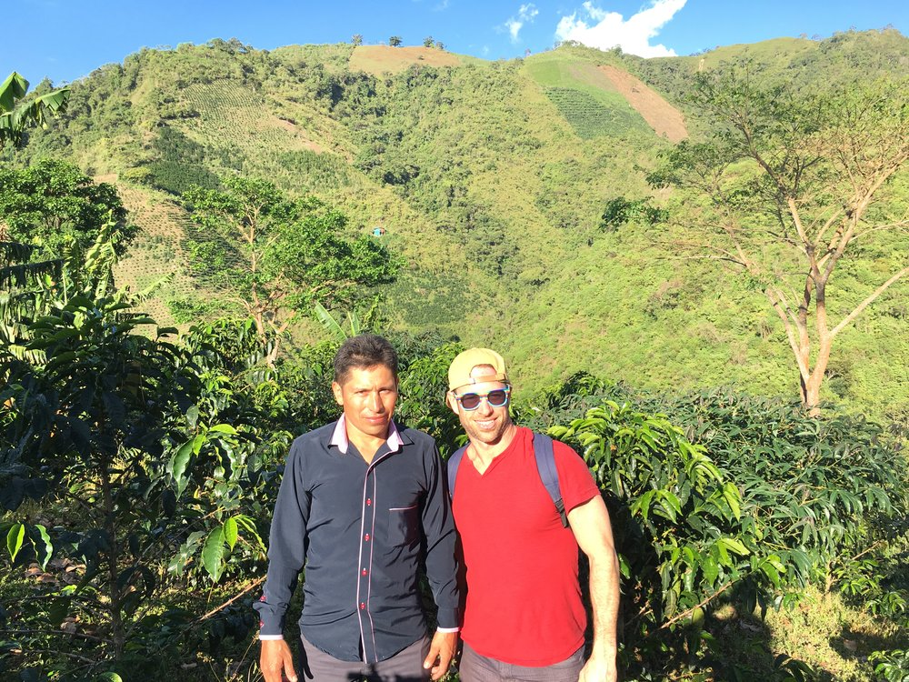 Dionel Chilito and Rick Evans at Finca La Pradera. We secured a small amount of Dionel's prized Geisha varietal at the silent auction.