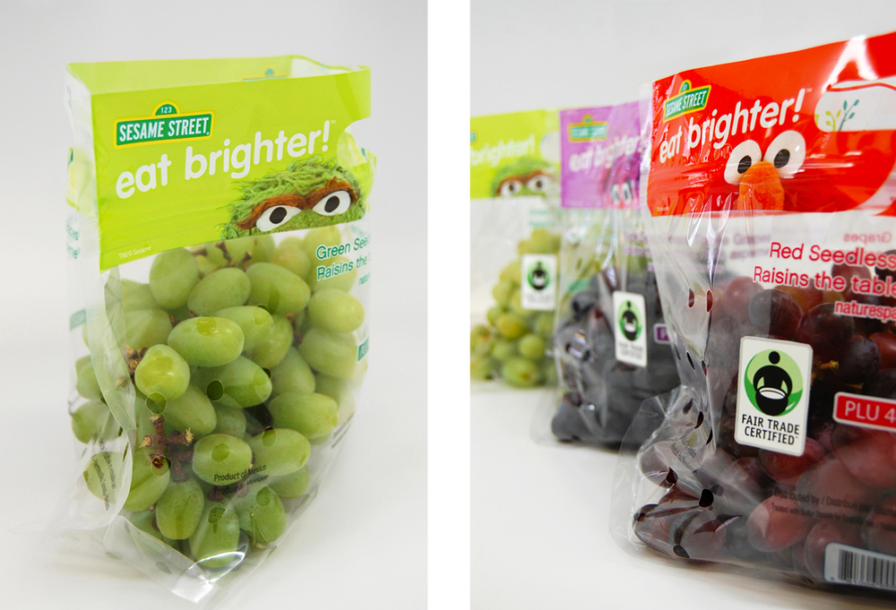Nature's Partner grape bags. Click here to download high resolution image of the Green Grape Bag and All Three Fair Trade Certified Bags.