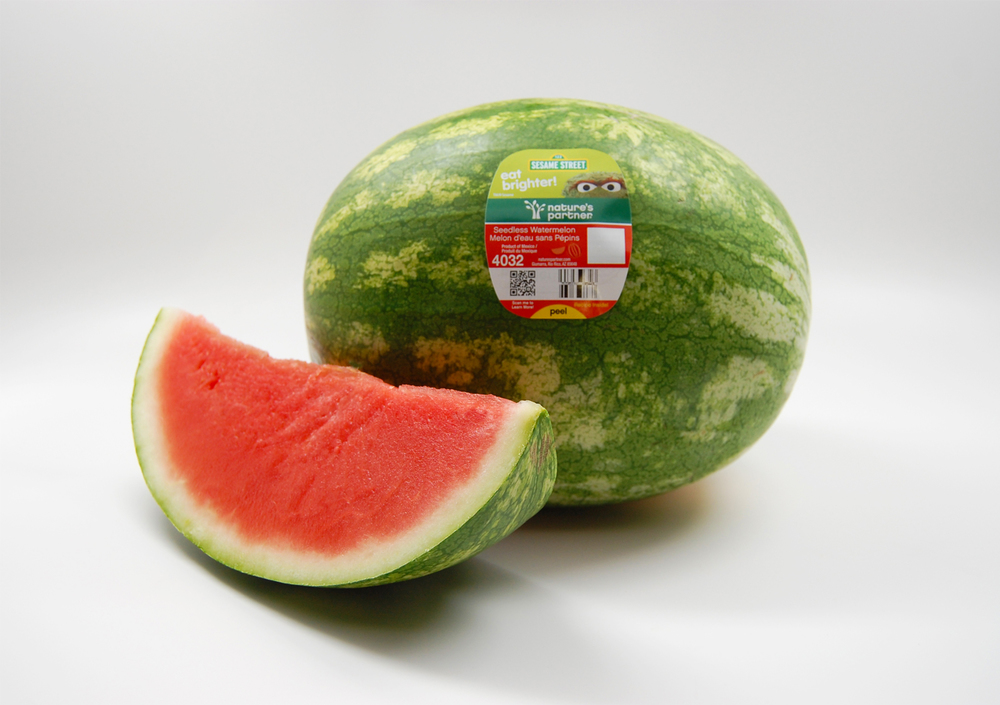 Nature's Partner watermelon from the promotion featured Oscar the Grouch. Click here to download high resolution image.