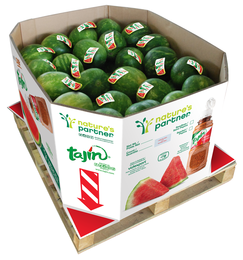 Bin and label artwork for Nature's Partner and Tajín watermelon promotion. Click to download high resolution image.