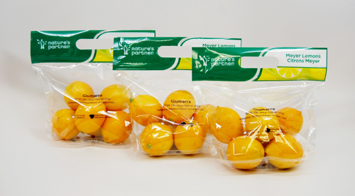 Nature's Partner Meyer lemons pictures in 1-lb. handle bags.  Click to download high resolution image.