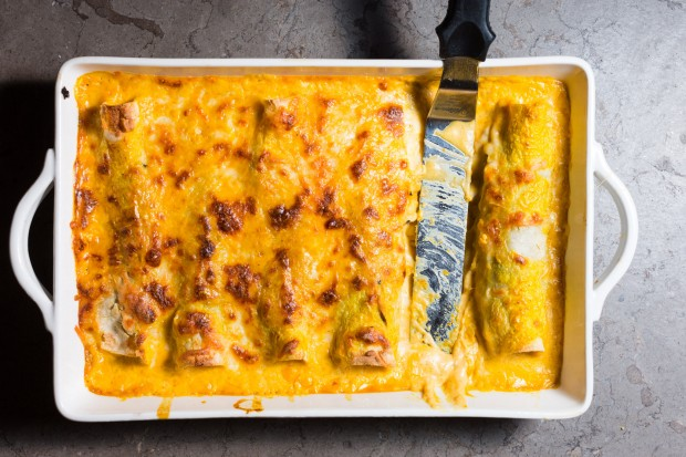 TURKEY ENCHILADAS WITH POBLANOS & PUMPKIN