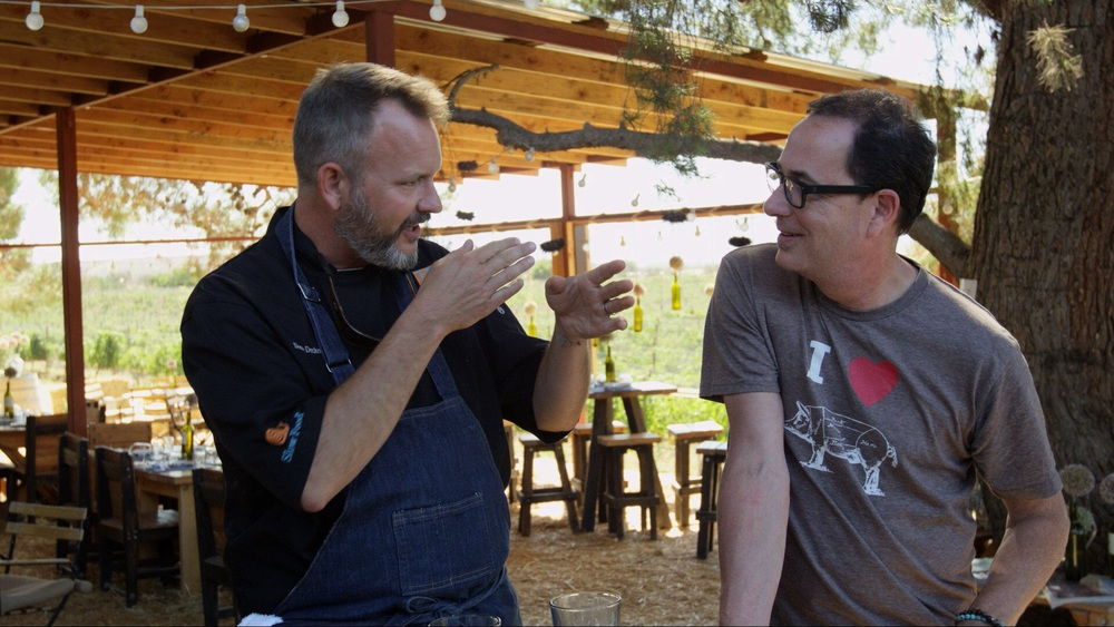 Sam with Michelin star chef, Drew Deckman at Deckman's en el Mogor