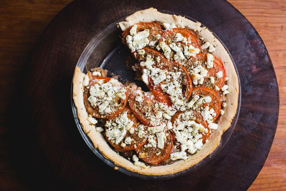 TOMATO ONION and GOAT CHEESE PIE