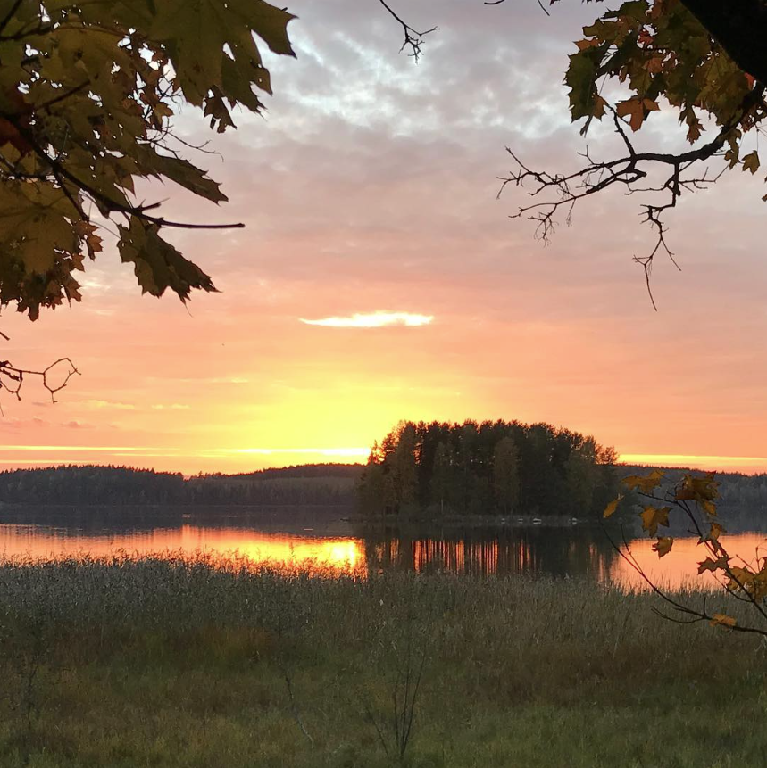 Beautiful sunset - the day is finnished in Iitti, Finland.