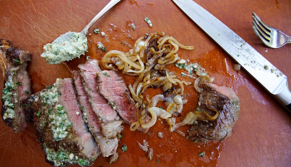 Steak, Grilled Onions with Blue Cheese Butter