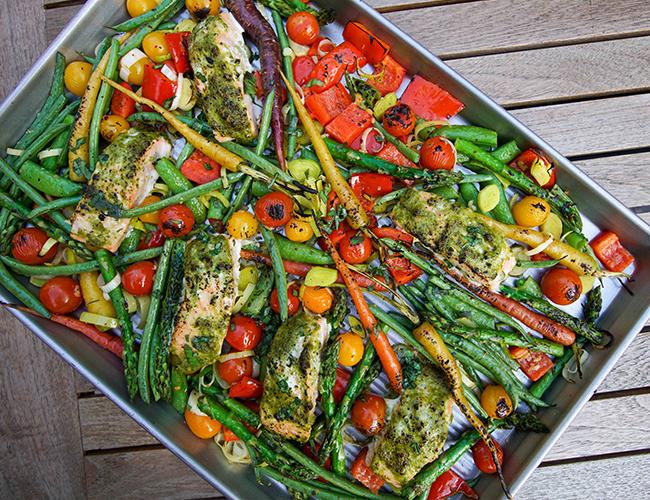 Salmon & Fresh Veggies One Sheet Pan Passover Meal — SAM THE