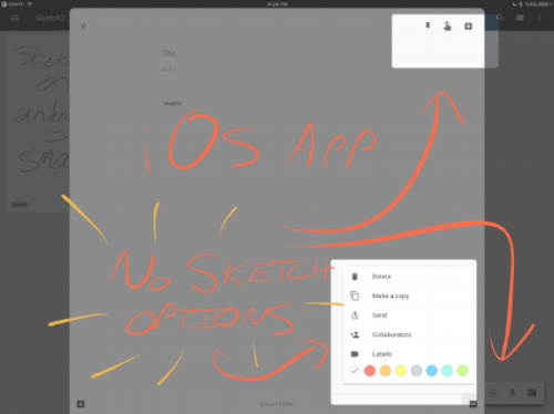 Doodles and Sketching is a definite no go on the iOS app despite updates that included support for the iPad Pro (minus Pencil for some reason).