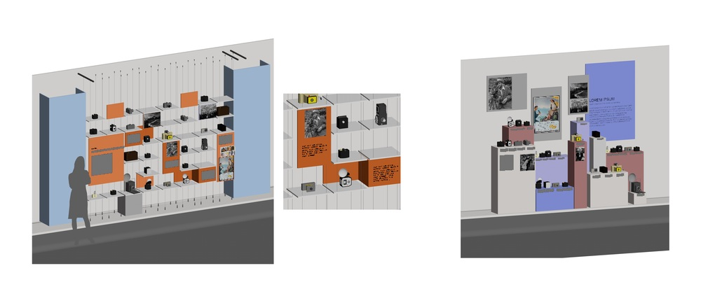 This is a Vectorworks mock up of our final collections-based exhibit. The image on the right shows an alternate method of displaying a large collection, using pedestals as opposed to shelves.