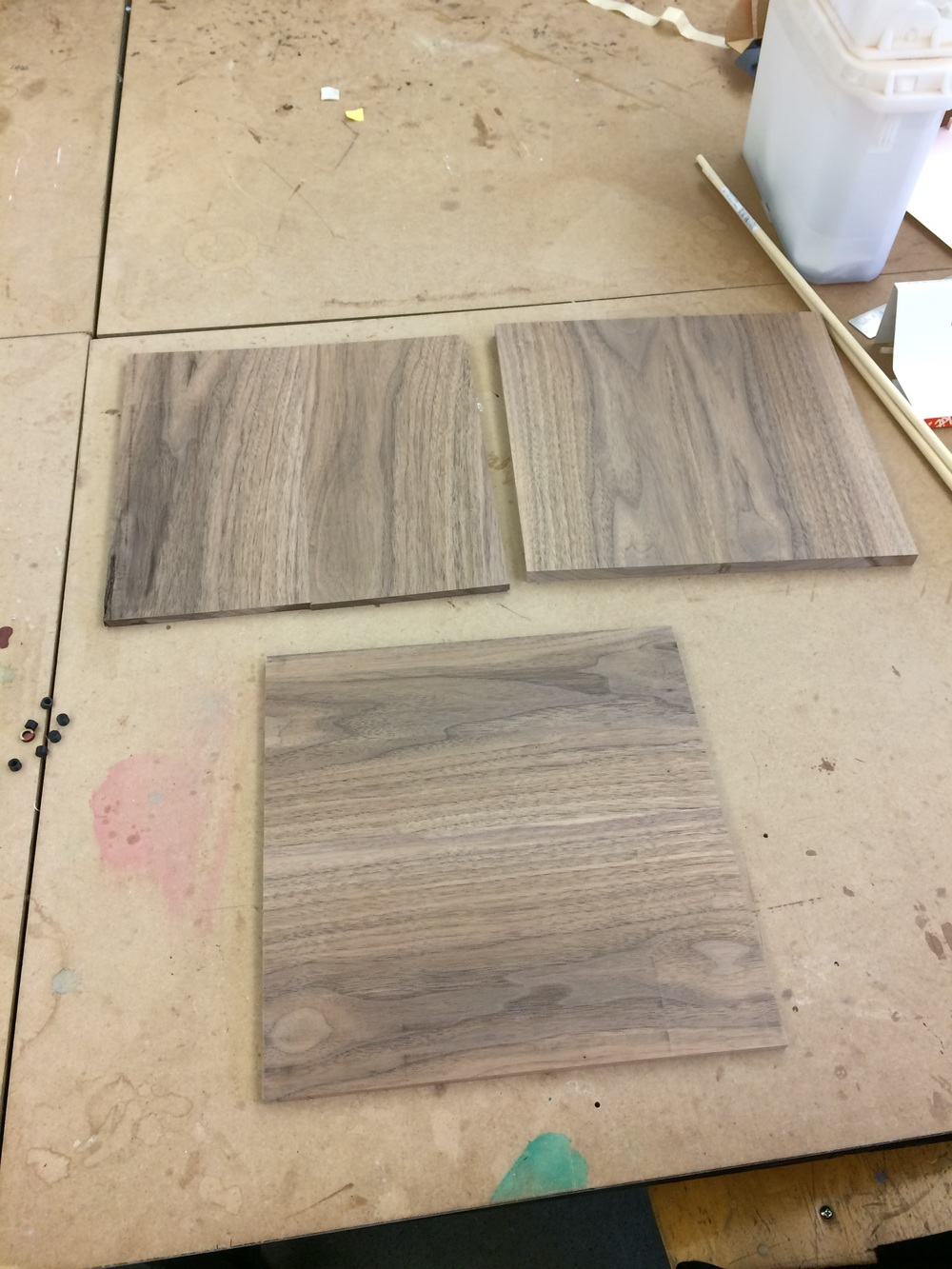 "Walnut planed to 1/4"" and 1/2"" thickness"