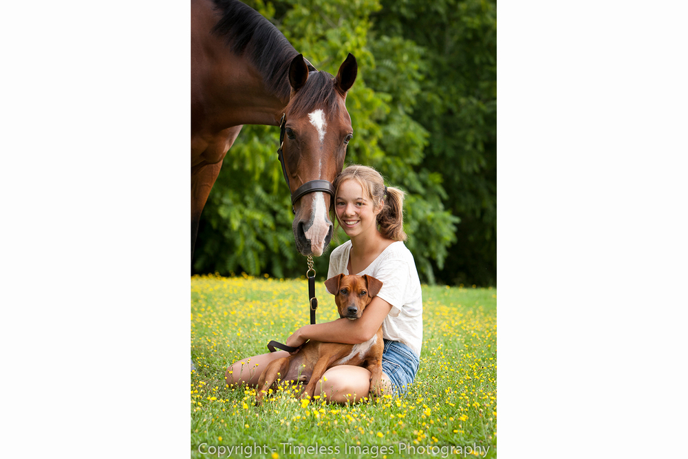 Horse, Dog, and owner portrait