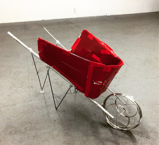 """Red Wheelbarrow"" 2016 -haikussemblage- by Kio Griffith (aluminum, foil, photographic prints, Bakelite, cloth tape, acrylic, plant support, strainer)"