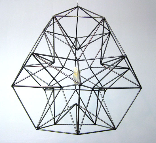 "Receptive Visualizer for Seeing with the Mind's Eye, 2009 welded steel, quartz crystal, silver thread 30"" diameter dodecahedron with pentagonal pyramid crown  by Christina Ondrus"