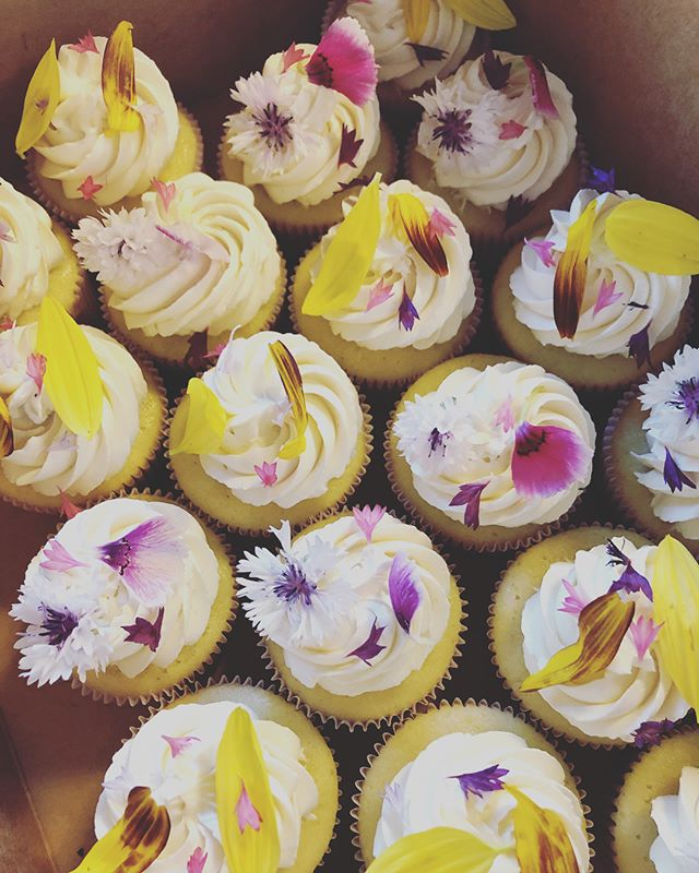 Didn't get any shots of this on display because it was just a drop off, but vanilla and chocolate cupcakes with beautiful edible flowers!