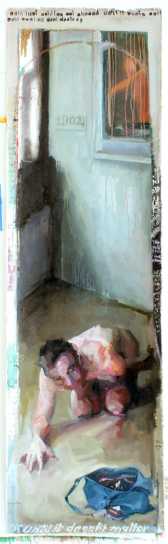 11 Commentaries, vomiter. Oil on canvas H100xW30%22 2013.jpg
