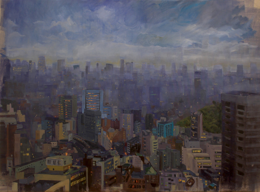 SW 1 Miso Vukcevic Tokyo Calm Oil on canvas 2016 W50%22xH36%22 Advanced Painitng Srping 2016 Davidson College.jpg