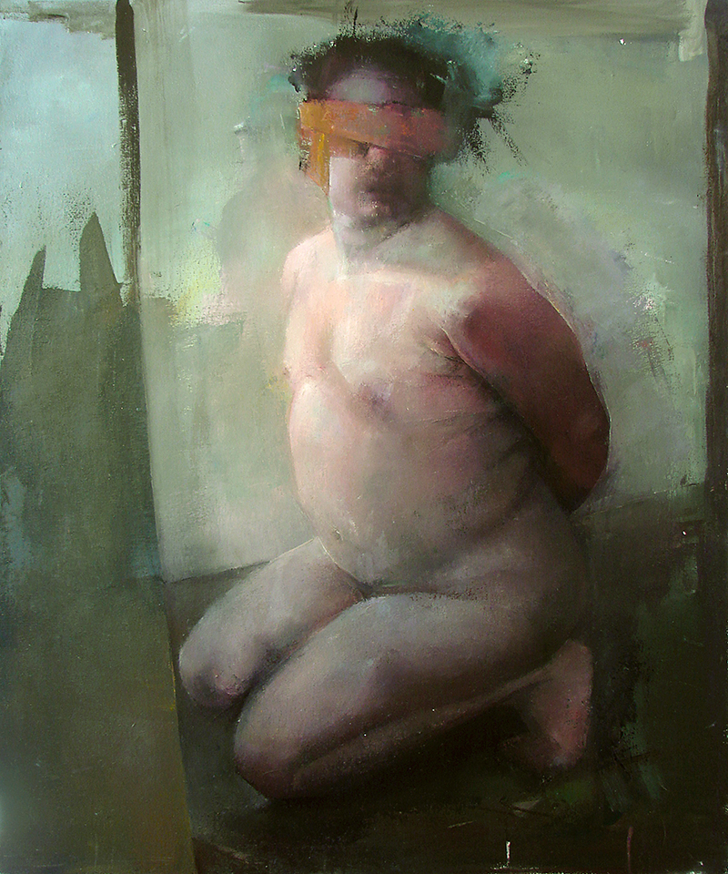 "Every Body Knows, blindfold 1, Oil on canvas, H42""xW35"", 2007"