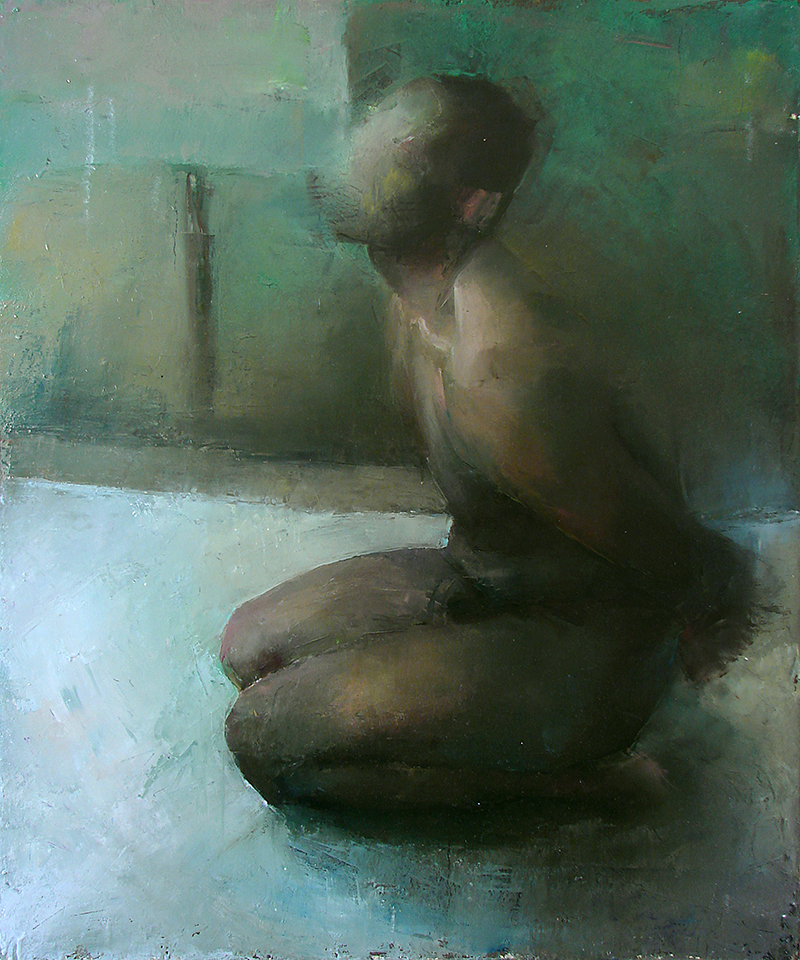 "Every Body Knows, blindfold 3, Oil on canvas, H42""xW35"", 2007"