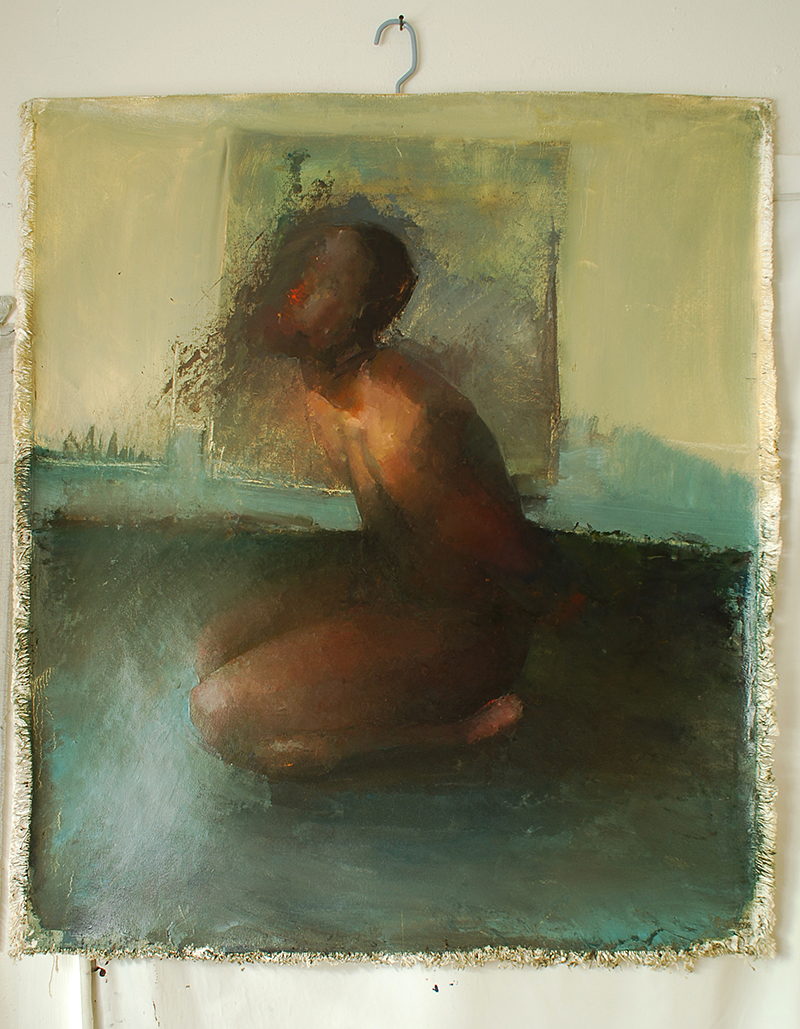 "Every Body Knows, blindfold 4, Oil on canvas, H42""xW35"", 2007"