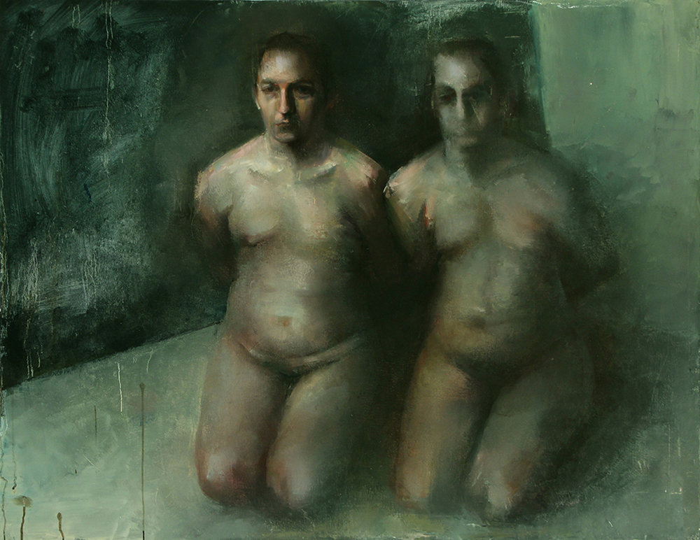 "Every Body Knows, blindfolds, Oil on canvas, H42""xW54"", 2008"