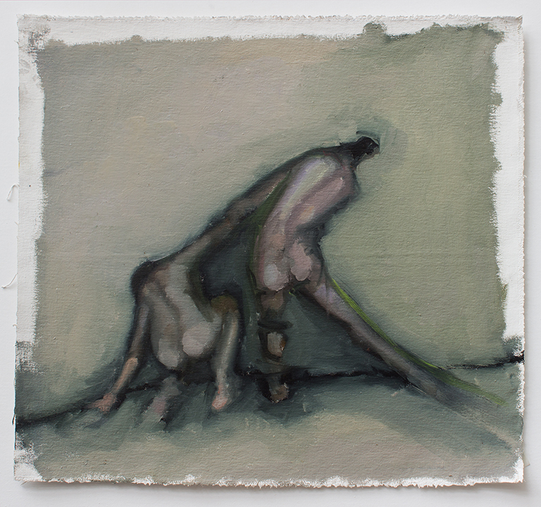 "Lean, line painting 3, Oil on canvas H15""xW16"", 2011"