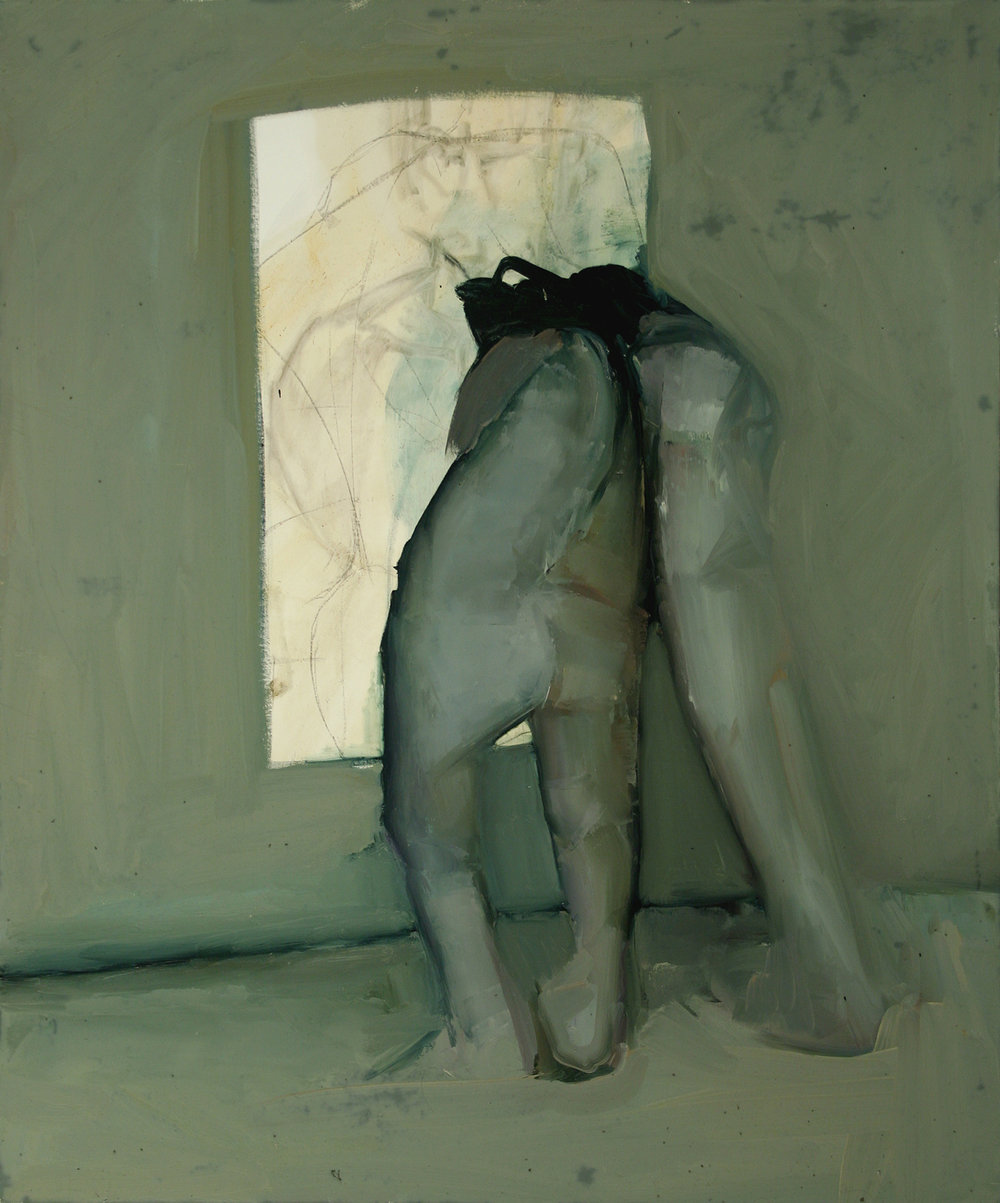 "Lean, line painting 1,Oil on canvas H42""xW35"", 2011"